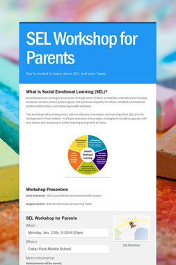 SEL Workshop for Parents