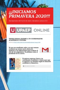¡¡¡INICIAMOS PRIMAVERA 2020!!!