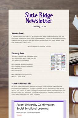 Slate Ridge Newsletter