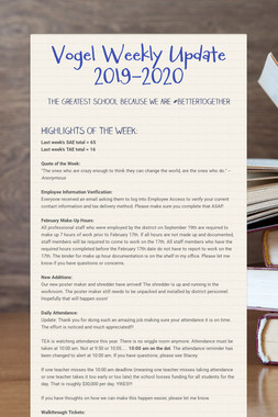 Vogel Weekly Update  2019-2020
