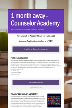 1 month away - Counselor Academy