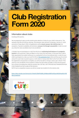 Club Registration Form 2020