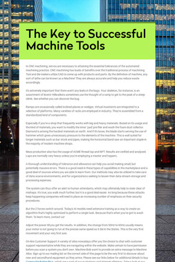 The Key to Successful Machine Tools