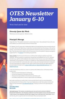 OTES Newsletter January 6-10