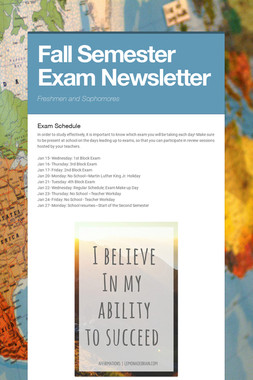 Fall Semester Exam Newsletter