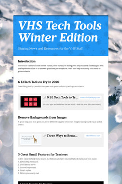 VHS Tech Tools Winter Edition