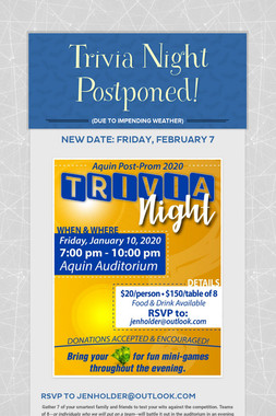 Trivia Night Postponed!