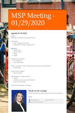 MSP Meeting - 01/22/2020