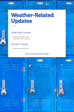 Weather-Related Updates