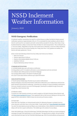 NSSD Inclement Weather Information