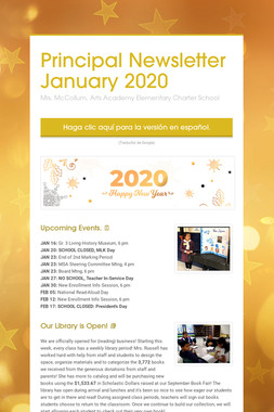 Principal Newsletter January 2020