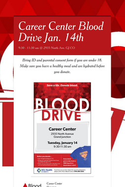 Career Center Blood Drive Jan. 14th