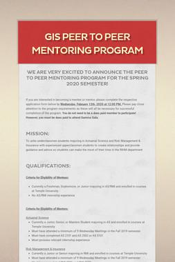 GIS Peer to Peer Mentoring Program