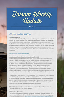 Folsom Weekly Update