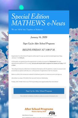 Special Edition MATHEWS e-News