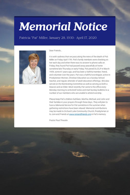 Memorial Notice