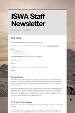 ISWA Staff Newsletter