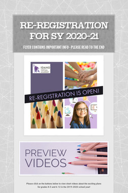 Re-Registration for SY 2020-21