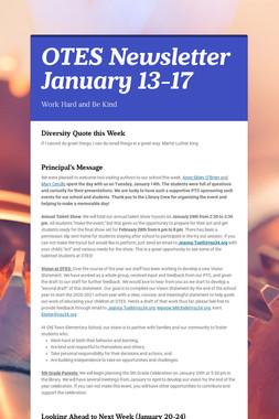 OTES Newsletter January 13-17