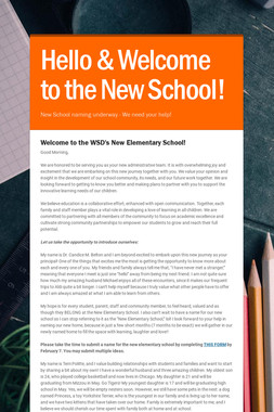 Hello & Welcome to the New School!