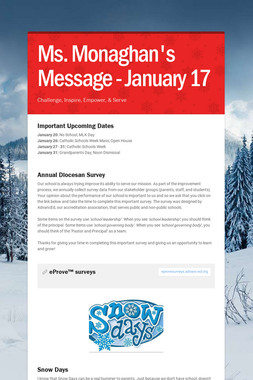 Ms. Monaghan's Message - January 17