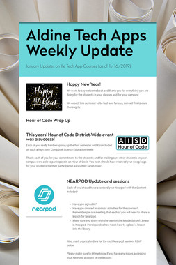 Aldine Tech Apps Weekly Update