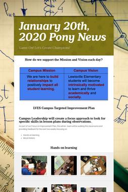 January 20th, 2020 Pony News