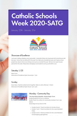 Catholic Schools Week 2020-SATG