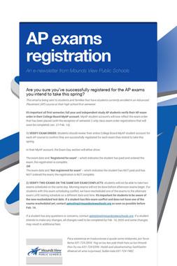 AP exams registration