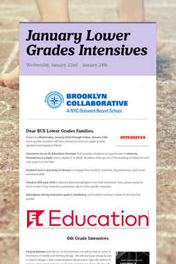 January Lower Grades Intensives