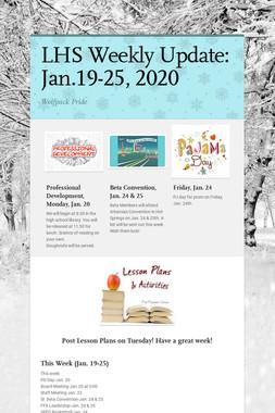 LHS Weekly Update: Jan.19-25, 2020