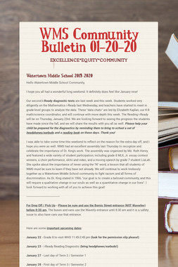 WMS Community Bulletin 01-20-20