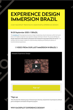 EXPERIENCE DESIGN IMMERSION BRAZIL