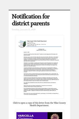 Notification for district parents