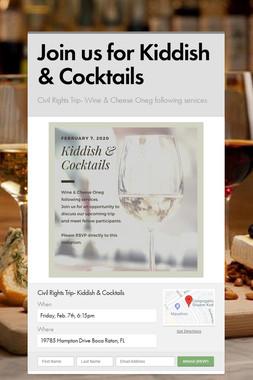 Join us for Kiddish & Cocktails