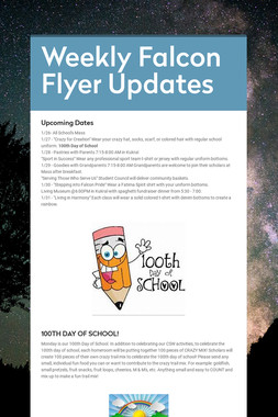 Weekly Falcon Flyer Updates