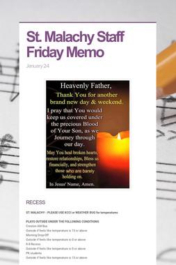 St. Malachy Staff Friday Memo