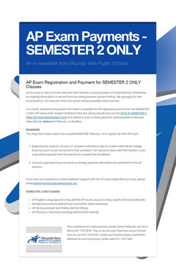 AP Exam Payments - SEMESTER 2 ONLY