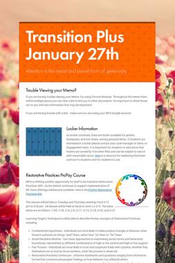 Transition Plus  January 27th