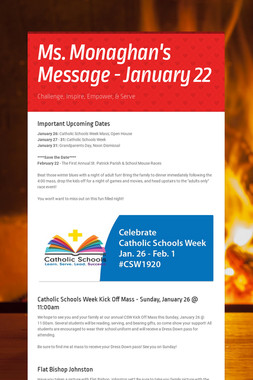 Ms. Monaghan's Message - January 22