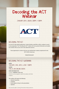 Decoding the ACT Webinar