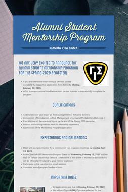 Alumni Student Mentorship Program