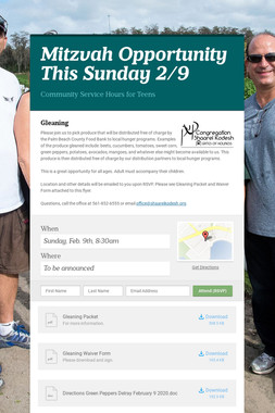 Mitzvah Opportunity This Sunday 2/9
