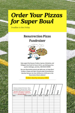 Order Your Pizzas for Super Bowl