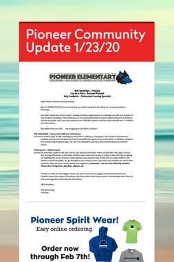 Pioneer Community Update 1/23/20