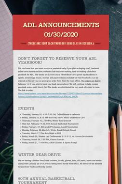 ADL Announcements 01/30/2020