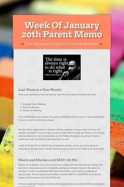 Week Of January 20th Parent Memo