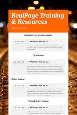 RealPage Training & Resources