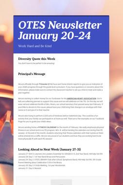 OTES Newsletter January 20-24