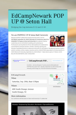 EdCampNewark POP UP @ Seton Hall